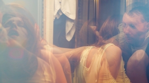 Actors Josephine Decker and Zefrey Throwell make love in the bathroom. Film still from FLAMES. Photo by Ashley Connor.