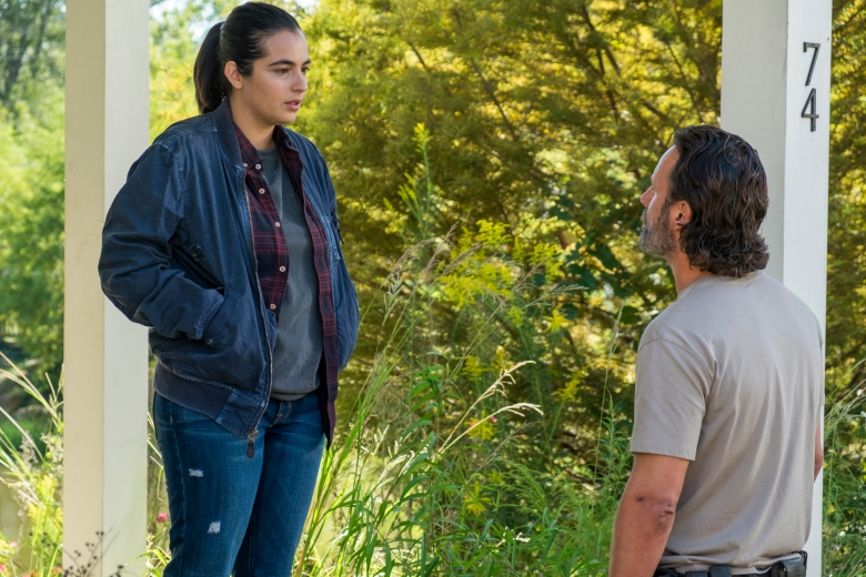 Alanna Masterson as Tara Chambler, Andrew Lincoln as Rick Grimes; - The Walking Dead _ Season 7, Episode 12 - Photo Credit: Gene Page/AMC