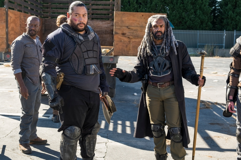 Khary Payton as Ezekiel, Lennie James as Morgan Jones, Cooper Andrews as Jerry - The Walking Dead _ Season 7, Episode 14 - Photo Credit: Gene Page/AMC