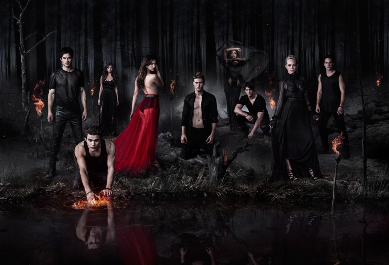 The Vampire Diaries -- Pictured (L-R): Ian Somerhalder as Damon, Paul Wesley as Stefan/Silas, Nina Dobrev as Katherine, Nina Dobrev as Elena, Zach Roerig as Matt, Kat Graham as Bonnie, Steven R. McQueen as Jeremy, Candice Accola as Caroline, and Michael Trevino as Tyler -- Photo: Nino Mu–oz/The CW -- © 2013 The CW Network, LLC. All rights reserved.