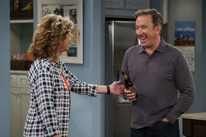"LAST MAN STANDING - ""Heavy Meddle"" - When Eve's boyfriend, Rob (guest star Travis Tope), doesn't invite her to his parents' anniversary party, Vanessa feels that Eve should tell him how this makes her feel. But Mike disagrees and thinks it's better for Eve to not say anything. Meanwhile, Kristin and Ryan think it's beyond the airy Mandy and Kyle to find the hidden clues in an escape room, on ""Last Man Standing,"" airing FRIDAY, MARCH 17 (8:00-8:31 p.m. EST), on The ABC Television Network. (ABC/Eric McCandless)NANCY TRAVIS, TIM ALLEN"