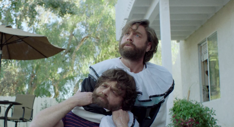 "Zach Galifianakis chokes himself on ""Baskets"""