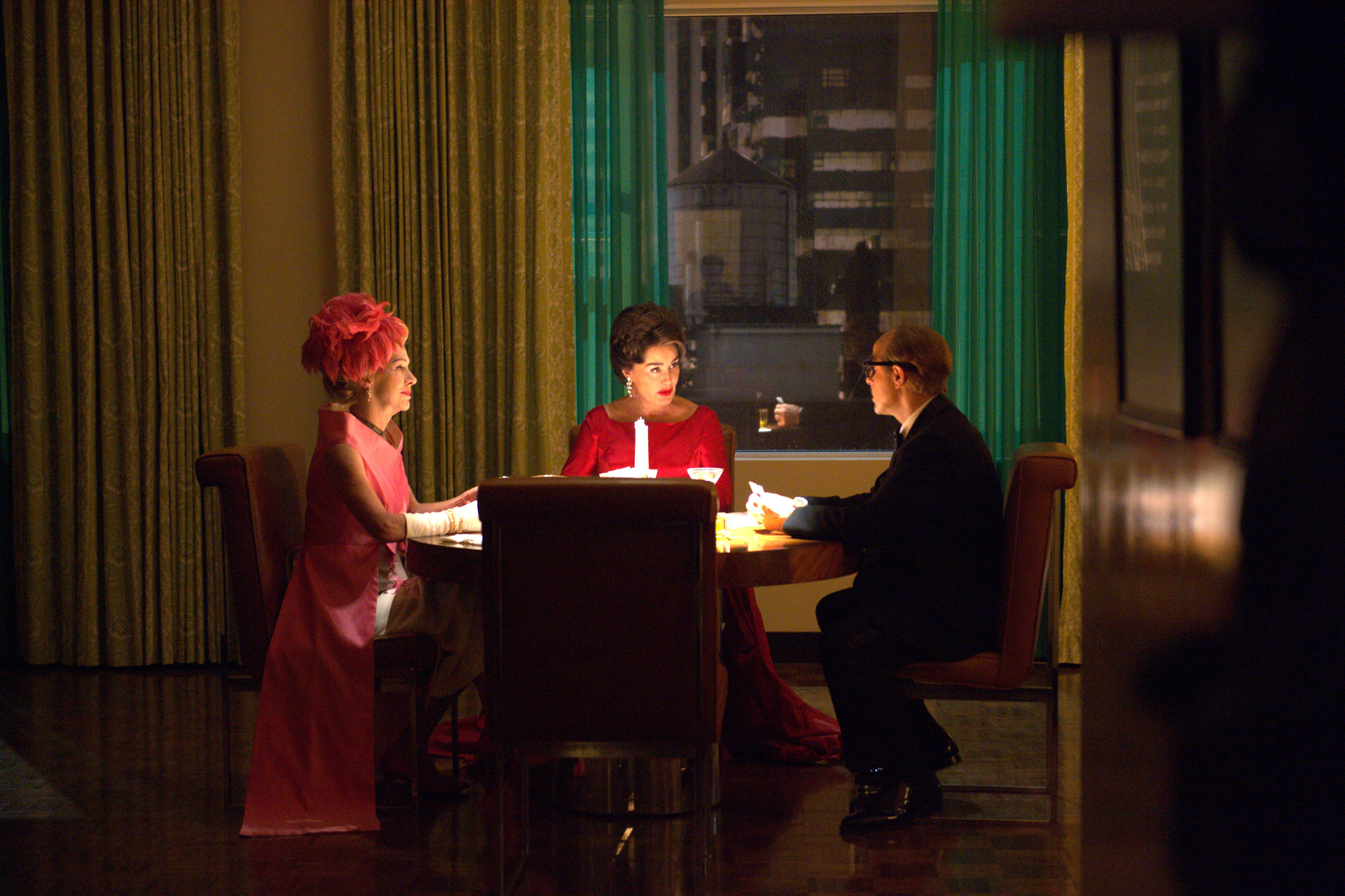 """You Mean All This Time We Could Have Been Friends?"" -- Installment 1, Episode 8 (Airs Sunday, April 23, 10:00 p.m. e/p) -- Pictured: (l-r) Judy Davis as Hedda Hopper, Jessica Lange as Joan Crawford, Stanley Tucci as Jack Warner. CR: Suzanne Tenner/FX"