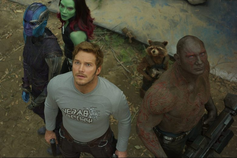 Guardians Of The Galaxy Vol. 2..L to R: Nebula (Karen Gillan), Gamora (Zoe Saldana), Star-Lord/Peter Quill (Chris Pratt), Groot (voiced by Vin Diesel), Rocket (voiced by Bradley Cooper) and Drax (Dave Bautista)..Ph: Film Frame..©Marvel Studios 2017