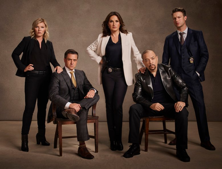 LAW & ORDER: SPECIAL VICTIMS UNIT -- Season: 18 -- Pictured: (l-r) Kelli Giddish as Detective Amanda Rollins, Raul Esparza as A.D.A. Rafael Barba, Mariska Hargitay as Lieutenant Olivia Benson, Ice-T as Detective Odafin 'Fin' Tutuola, Peter Scanavino as Dominick 'Sonny' Carisi -- (Photo by: Virginia Sherwood/NBC)