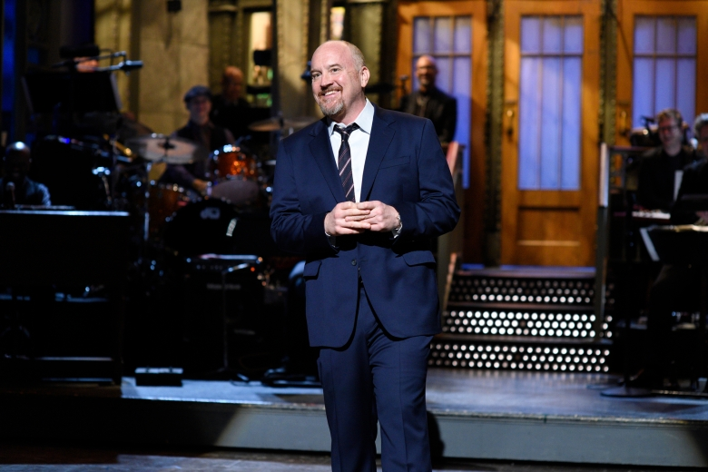 "SATURDAY NIGHT LIVE -- ""Louis C.K."" Episode 1721 -- Pictured: Host Louis C.K. during the monologue on April 8, 2017 -- (Photo by: Will Heath/NBC)"