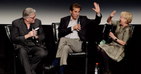 "Mike Francesa, Chris Russo and Andrea Joyce on stage after the premiere of ""Mike and the Mad Dog"""