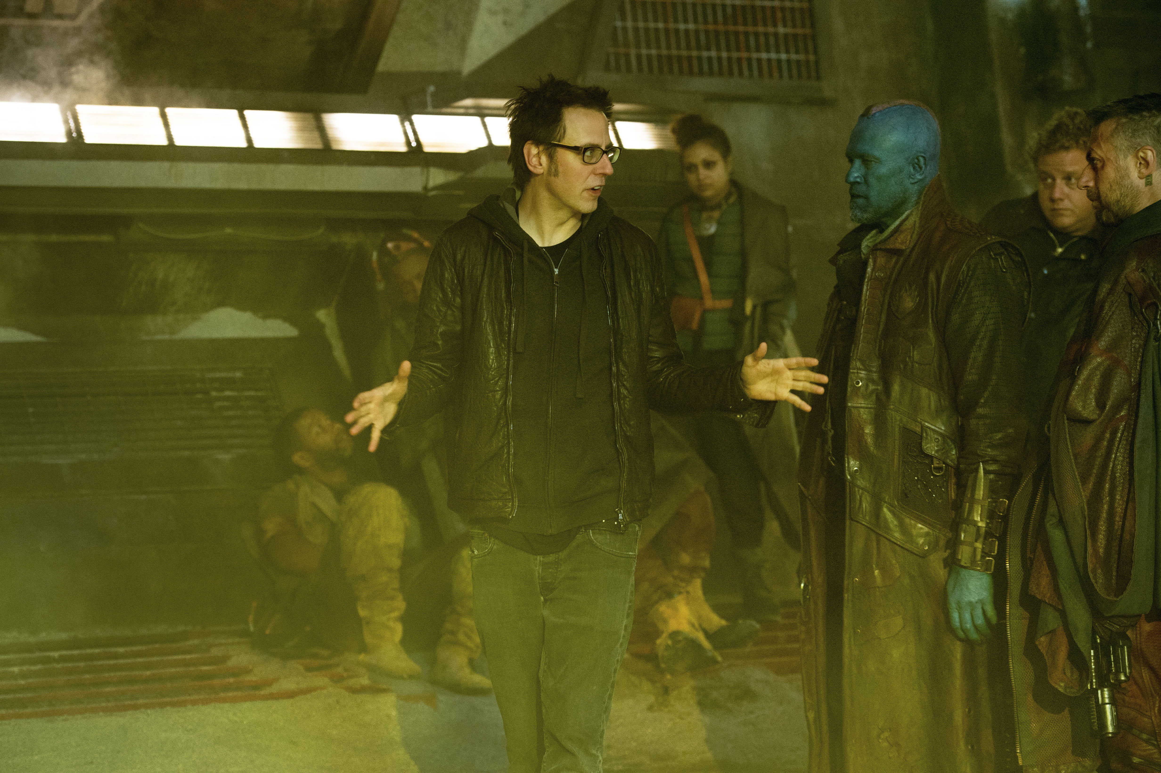 No Merchandising. Editorial Use Only. No Book Cover Usage.Mandatory Credit: Photo by Jay Maidment/Marvel Studios/REX/Shutterstock (5886233al)James Gunn, Michael RookerGuardians Of The Galaxy - 2014Director: James GunnMarvel StudiosUSAOn/Off SetLes Gardiens de la Galaxie