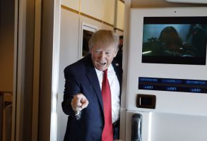 Copyright 2017 The Associated Press. All rights reserved. This material may not be published, broadcast, rewritten or redistributed without permission.Mandatory Credit: Photo by AP/REX/Shutterstock (8584033h)President Donald Trump points to a reporter as he arrives to meet with reporters on Air Force One while in flight from Andrews Air Force Base, Md., to Palm Beach International Airport, FlaTrump, XIF - 06 Apr 2017