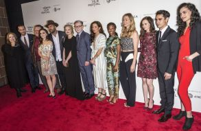 Ann Dowd, Joseph Fiennes, Bruce Miller, Madeline Brewer, O-T Fagbenle, Elisabeth Moss, Warren Littlefield, Reed Morano, Samira Wiley, Yvonne Strahovski, Alexis Bledel, Max Minghella and Rosa Gilmore'The Handmaid's Tale' TV Show screening, Arrivals, Tribeca Film Festival, New York, USA - 21 Apr 2017
