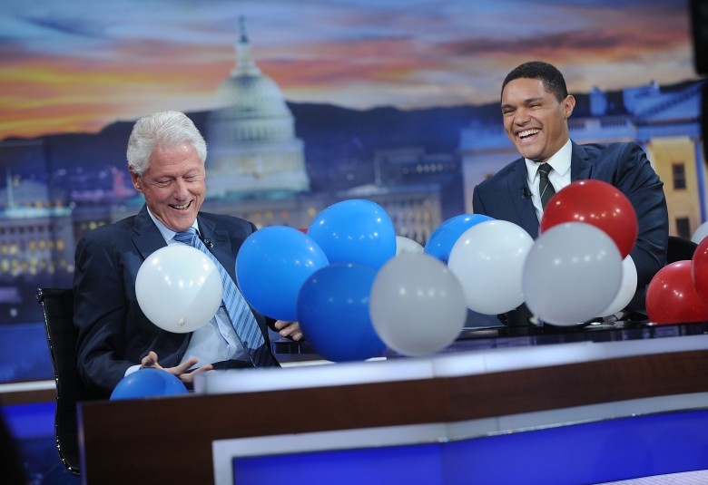 NEW YORK, NY - SEPTEMBER 15: 42nd President of the United States Bill Clinton (L) and Trevor Noah attend The Daily Show with Trevor Noah on September 15, 2016 in New York City. (Photo by Brad Barket/Getty Images for Comedy Central)