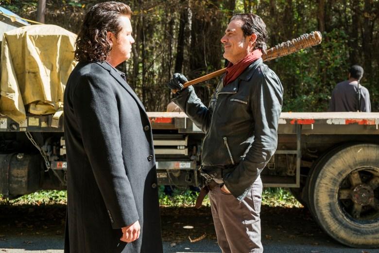 Jeffrey Dean Morgan as Negan, Josh McDermitt as Dr. Eugene Porter- The Walking Dead _ Season 7, Episode 16 - Photo Credit: Gene Page/AMC
