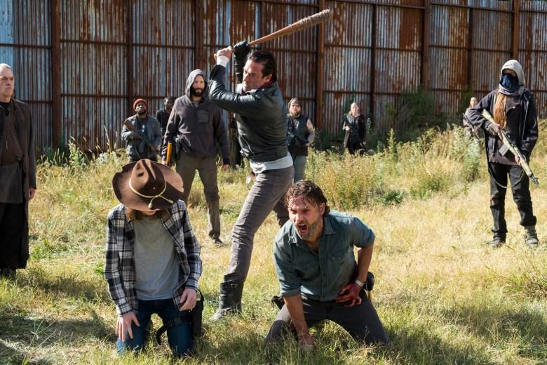 Andrew Lincoln as Rick Grimes, Chandler Riggs as Carl Grimes, Jeffrey Dean Morgan as Negan- The Walking Dead _ Season 7, Episode 16 - Photo Credit: Gene Page/AMC