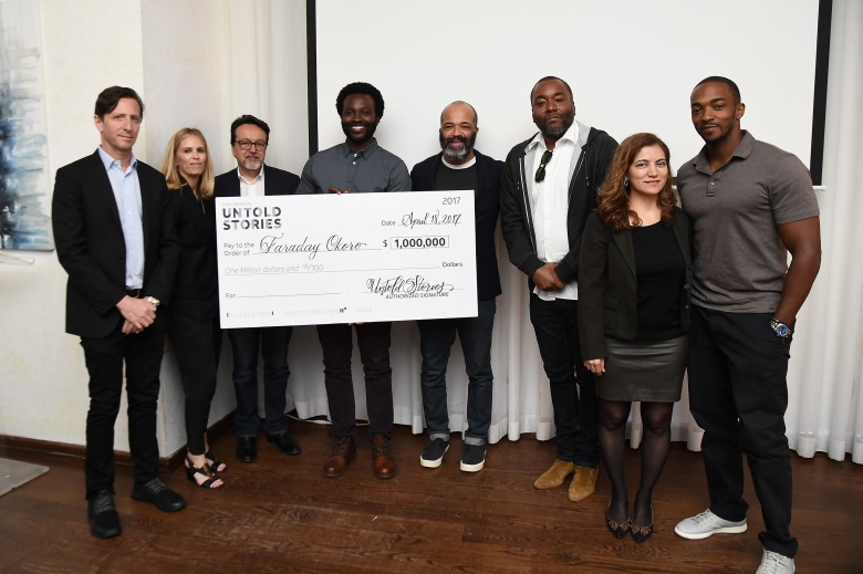 NEW YORK, NY - APRIL 18:  Josh Deutsch, Fiona Carter, Len Amato, Faraday Okoro, Jeffrey Wright, Lee Daniels, Frida Torresblanco and Anthony Mackie attend AT&T & Tribeca's celebratory launch of Untold Stories: An Inclusive Film Program at Thalassa on April 18, 2017 in New York City.  (Photo by Ilya S. Savenok/Getty Images for Tribeca Film Festival/AT&T)