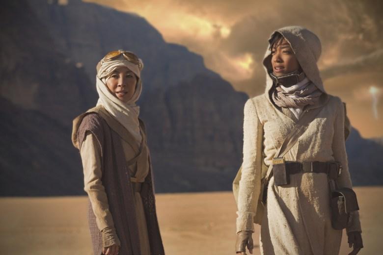 Michelle Yeoh as Captain Philippa Georgiou; Sonequa Martin-Green as First Officer Michael Burnham. STAR TREK: DISCOVERY coming to CBS All Access. Photo Cr: Dalia Naber.