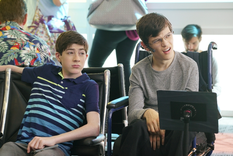 "SPEECHLESS - ""C-A--CAMP"" - As the family readies for their flight to JJ's camp, Maya gets a surprise at the airport. Ray sees the summer as an opportunity to reinvent himself while Jimmy and Dylan turn the trip to camp into a father/daughter bonding moment, on the season finale of ""Speechless,"" WEDNESDAY, MAY 17 (8:30-9:00 p.m. EDT), on The ABC Television Network. (ABC/Ron Tom)MASON COOK, MICAH FOWLER"