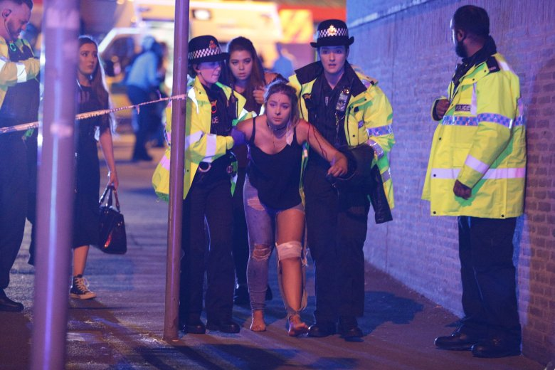 UK OUTMandatory Credit: Photo by Joel Goodman/LNP/REX/Shutterstock (8828037b)Police and other emergency services are seen near the Manchester Arena after reports of an explosion. Police have confirmed they are responding to an incident during an Ariana Grande concert at the venue.Explosion at Manchester Arena, UK - 22 May 2017