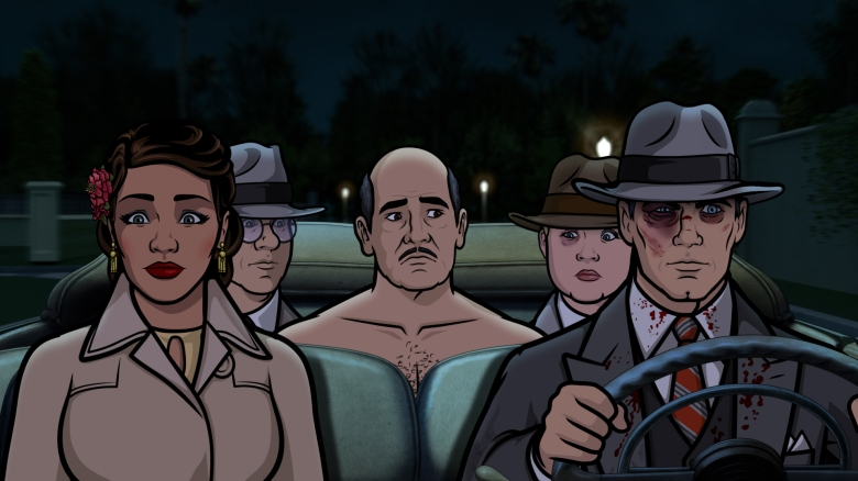 "ARCHER -- ""Auflösung"" -- Season 8, Episode 8 (Airs May 24, 10:00 pm e/p) Pictured (l-r): Lana Kane (voice of Aisha Tyler), Cyril Figgis (voice of Chris Parnell), Len Trexler (voice of Jeffrey Tambor), Pam Poovey (voice of Amber Nash), Sterling Archer (voice of H. Jon Benjamin). CR: FXX"