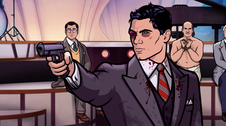 "ARCHER -- ""Auflösung"" -- Season 8, Episode 8 (Airs May 24, 10:00 pm e/p) Pictured (l-r): Cyril Figgis (voice of Chris Parnell), Sterling Archer (voice of H. Jon Benjamin), Len Trexler (voice of Jeffrey Tambor). CR: FXX"