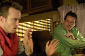 "Jesse Pinkman (Aaron Paul) and Walter White (Bryan Cranston)  - Breaking Bad_Season 1, Episode 2_""Cat's in the Bag…"" - Photo Credit: Lewis Jacobs/AMC"