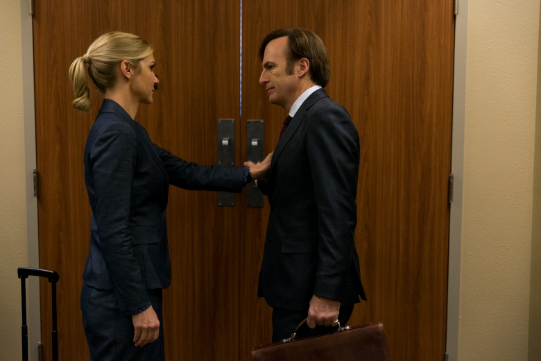 Bob Odenkirk as Jimmy McGill, Rhea Seehorn as Kim Wexler - Better Call Saul _ Season 3, Episode 5 - Photo Credit: Michele K. Short/AMC/Sony Pictures Television