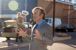 Bob Odenkirk as Jimmy McGill, Julian Bonfiglio as Sound Guy - Better Call Saul _ Season 3, Episode 6 - Photo Credit: Michele K. Short/AMC/Sony Pictures Television