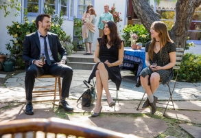 "CASUAL  -- ""Ashes to Ashes"" Episode 301 -- In the wake of Charles' death, Alex and Valerie adjust to their new lives apart. Laura schemes to remove her tattoo. From left, Alex (Tommy Dewey), Valerie (Michaela Watkins) and Laura (Tara Lynne Barr), shown. (Photo by: Greg Lewis/Hulu)"