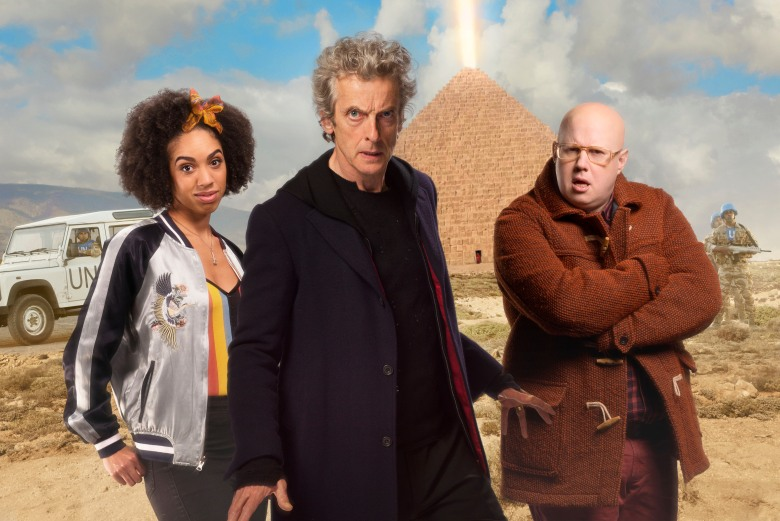 "Pearl Mackie, Peter Capaldi and Matt Lucas, ""Doctor Who"""