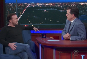 Stephen Colbert and Ricky Gervais