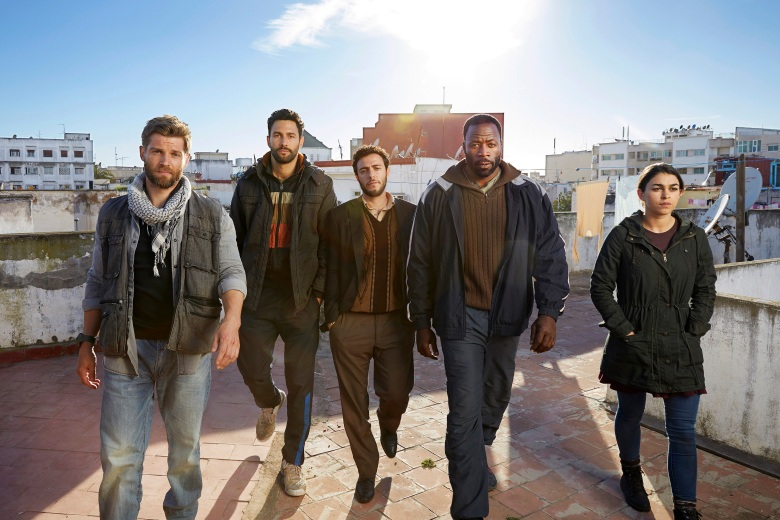 "FOR GOD & COUNTRY -- Season: Pilot -- Pictured: (l-r) Mike Vogel as Michael Dalton, Noah Mills as Joseph J. McGuire, Hadi Tabbal as Amir Al-Rasani, Demetrius Grosse as Anthony ""Preach"" Carter, Natacha Karam as Jasmine ""Jaz"" Ervin -- (Photo by: Jeff Riedel/NBC)"