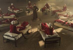"""The Handmaid's Tale  -- """"Nolite Te Bastardes Carborundorum"""" Episode 104 --  Punished by Serena Joy, Offred begins to unravel and reflects on her time with Moira at the Red Center. A complication during the Ceremony threatens Offred's survival with the Commander and Serena Joy. (Photo by: George Kraychyk/Hulu)"""