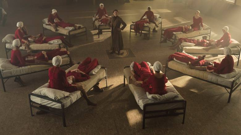 "The Handmaid's Tale -- ""Nolite Te Bastardes Carborundorum"" Episode 104 -- Punished by Serena Joy, Offred begins to unravel and reflects on her time with Moira at the Red Center. A complication during the Ceremony threatens Offred's survival with the Commander and Serena Joy. (Photo by: George Kraychyk/Hulu)"