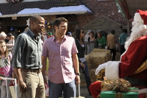 "PSYCH -- ""Christmas Joy"" Episode 310 -- Pictured:  (l-r) Dule Hill as Burton ""Gus"" Guster, James Roday as Shawn Spencer -- (Photo by: Alan Zenuk/USA Network)"