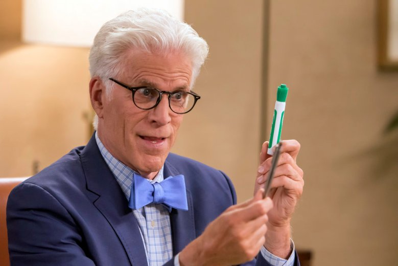 "THE GOOD PLACE -- ""Chidi's Choice"" Episode 110 -- Pictured: Ted Danson as Michael -- (Photo by: Ron Batzdorff/NBC)"