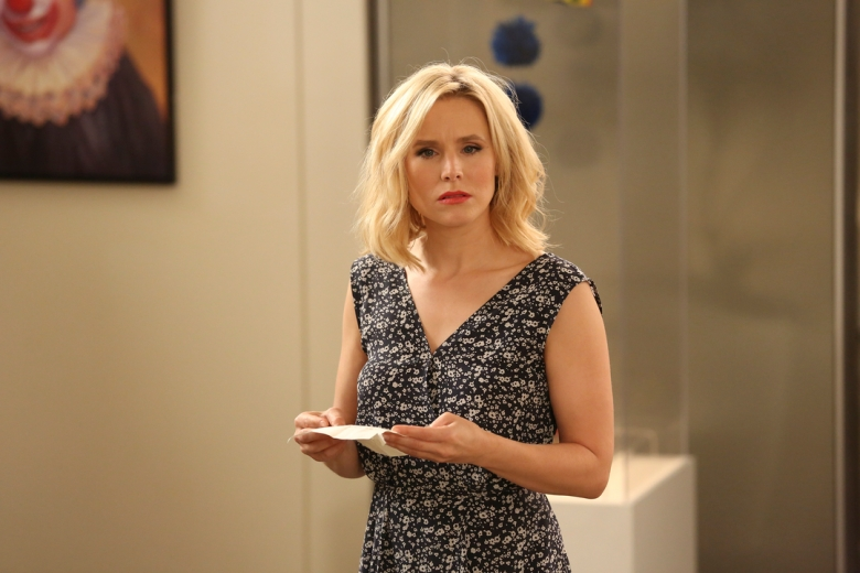 "THE GOOD PLACE -- ""Michael's Gambit"" Episode 113 -- Pictured: Kristen Bell as Eleanor Shellstrop -- (Photo by: Vivian Zink/NBC)"