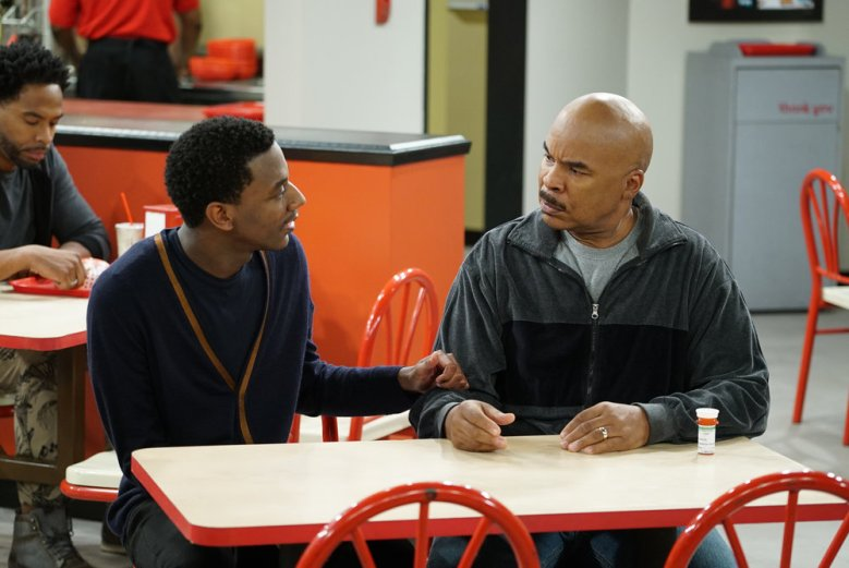 "THE CARMICHAEL SHOW -- ""Grandma Francis"" Episode 301 -- Pictured: (l-r) Jerrod Carmichael as Jerrod Carmichael, David Alan Grier as Joe Carmichael -- (Photo by: Chris Haston/NBC)"