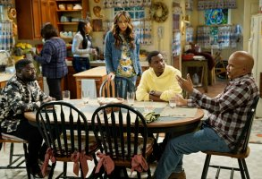 "THE CARMICHAEL SHOW -- ""Yes Means Yes"" Episode 302 -- Pictured: (l-r) Lil Rel Howery as Bobby Carmichael, Amber Stevens West as Maxine, Jerrod Carmichael as Jerrod Carmichael, David Alan Grier as Joe Carmichael -- (Photo by: Chris Haston/NBC)"