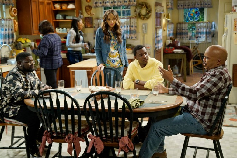 """THE CARMICHAEL SHOW -- """"Yes Means Yes"""" Episode 302 -- Pictured: (l-r) Lil Rel Howery as Bobby Carmichael, Amber Stevens West as Maxine, Jerrod Carmichael as Jerrod Carmichael, David Alan Grier as Joe Carmichael -- (Photo by: Chris Haston/NBC)"""