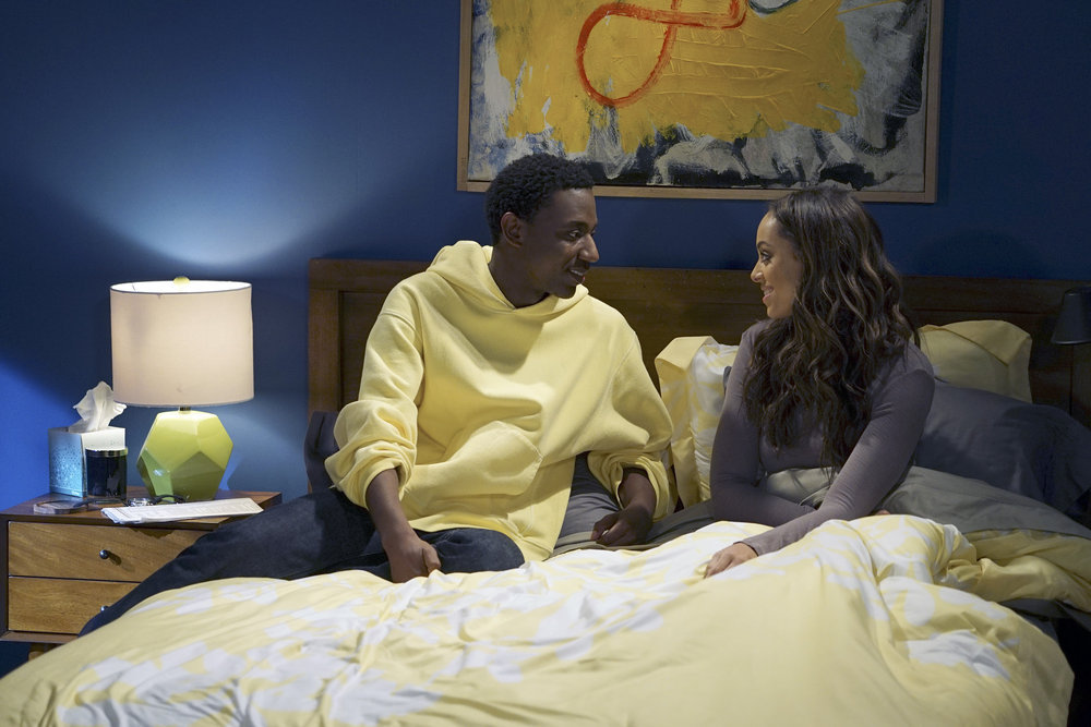 "THE CARMICHAEL SHOW -- ""Yes Means Yes"" Episode 302 -- Pictured: (l-r) Jerrod Carmichael as Jerrod Carmichael, Amber Stevens West as Maxine -- (Photo by: Chris Haston/NBC)"