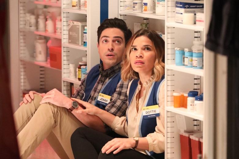 "SUPERSTORE -- ""Tornado"" Episode 221 -- Pictured: (l-r) Ben Feldman as Jonah, America Ferrera as Amy -- (Photo by: Evans Vestal Ward/NBC)"