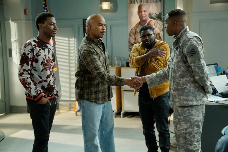 "THE CARMICHAEL SHOW -- ""Support Our Troops"" Episode 306 -- Pictured: (l-r) Jerrod Carmichael as Jerrod Carmichael, David Alan Grier as Joe Carmichael, Lil Rel Howery as Bobby Carmichael, Grantham Coleman as Kevin -- (Photo by: Chris Haston/NBC)"
