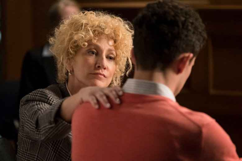"LAW & ORDER TRUE CRIME: THE MENENDEZ MURDERS -- ""Law & Order True Crime: The Menendez Murders"" Promo -- Pictured: Edie Falco as Leslie Abramson -- (Photo by: Justin Lubin/NBC)"