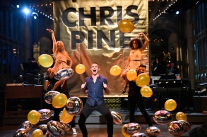 "SATURDAY NIGHT LIVE -- ""Chris Pine"" Episode 1723 -- Pictured: Chris Pine during the Opening Monologue in studio 8H on May 6, 2017 -- (Photo by: Will Heath/NBC)"
