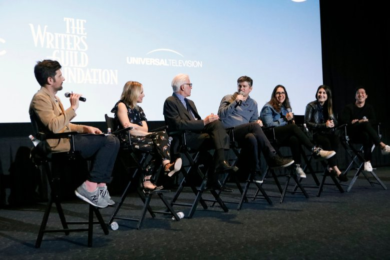 "THE GOOD PLACE -- The writers and cast of ""The Good Place"" gathered at ArcLight Hollywood for a WGA Foundation event on Thursday, May 25, 2017 -- Pictured: (l-r) Adam Scott, Kristen Bell, Ted Danson, Michael Schur, Megan Amram, Jen Statsky, Andrew Law -- (Photo by: Evans Vestal Ward/NBC)"
