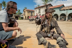 """""""Pirates of the Caribbean: Dead Men Tell No Tales"""" Director Joachim Rønning with Johnny Depp"""