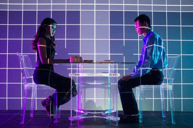 BURBANK, CALIF.- Go-Players at table in psychedelic setting. (Photo credit: Asylum Entertainment/Kurt Sayenga)