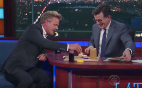 Gordon Ramsay and Stephen Colbert on The Late Show