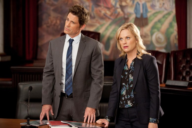 No Merchandising. Editorial Use Only. No Book Cover Usage.Mandatory Credit: Photo by NBC-TV/REX/Shutterstock (5881897e)Rob Lowe, Amy PoehlerParks and Recreation - 2008-2013NBC-TVUSATelevision