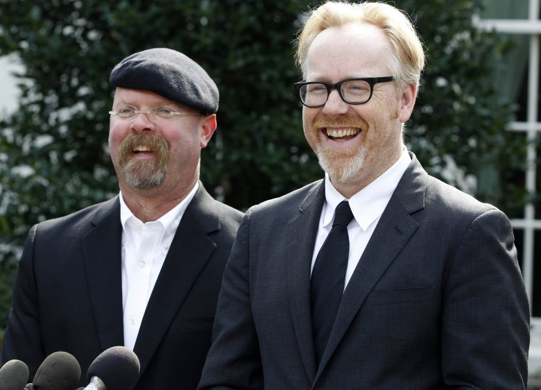 Jamie Hyneman, Adam Savage Discovery Channel's MythBusters hosts, Jamie Hyneman, left, and Adam Savage, speak to reporters outside the White House in Washington, after they taped a segment with President Barack Obama Obama MythBusters, Washington, USA