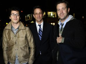 (L-R) Andy Samberg, Seth Meyers and Jason Sudeikis attend Barneys New York's Saturday Night Live window debut at Barneys New York Madison Avenue.Barneys New York SNL Windows, New York